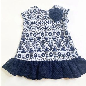 Pippa And Julie Dress Blue White Toddler Size 3